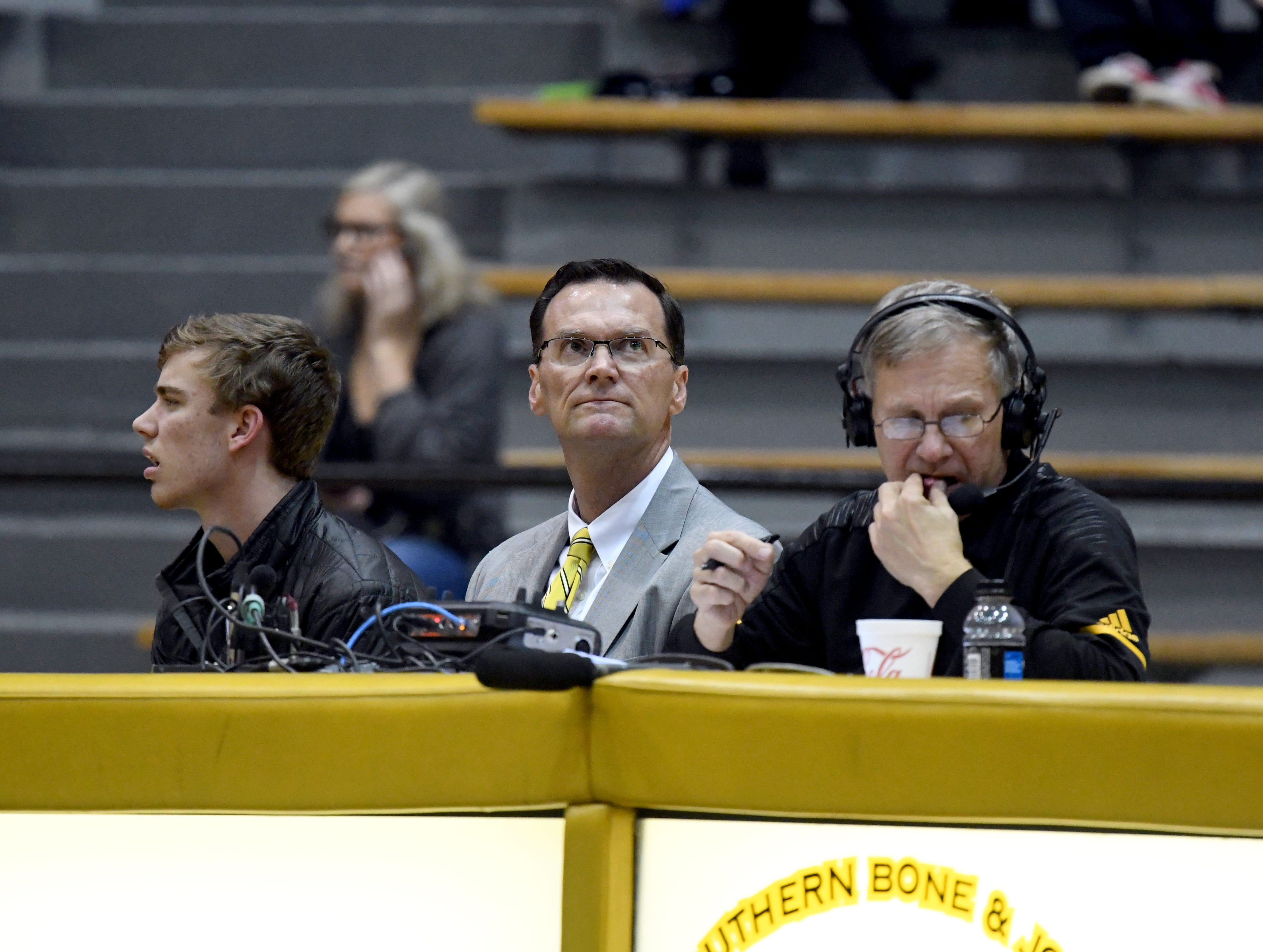 Southern Miss athletic director Jon Gilbert attends the home game against South Alabama in Reed Green Coliseum on Wednesday, November 28, 2018.