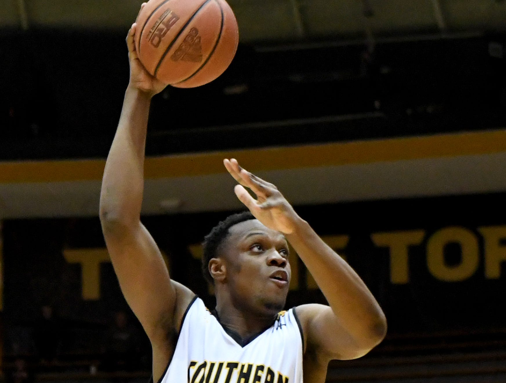 Southern Miss forward Boban Jacdonmi shoot for the basket in a game against South Alabama in Reed Green Coliseum on Wednesday, November 28, 2018.
