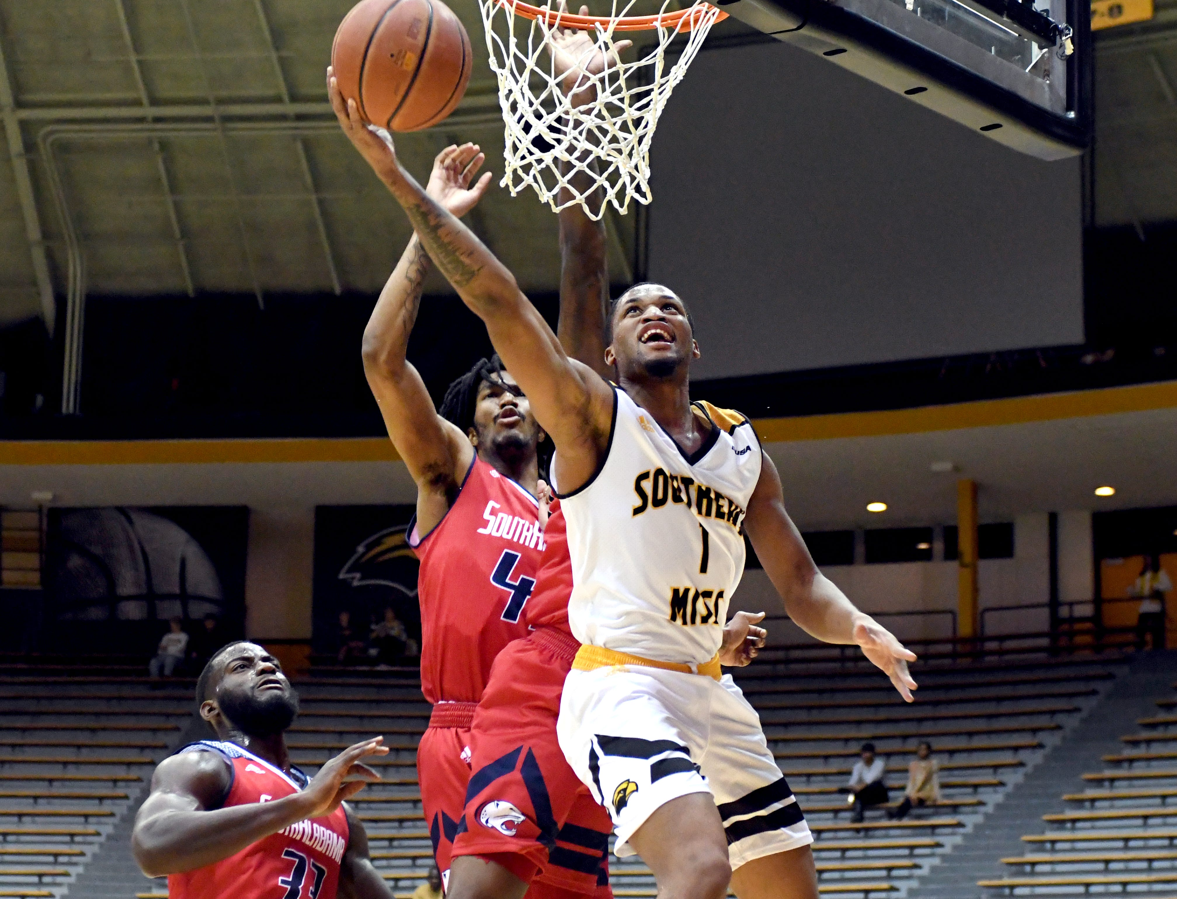 Southern Miss guard Cortez Edwards goes for a lay up in a game against South Alabama in Reed Green Coliseum on Wednesday, November 28, 2018.