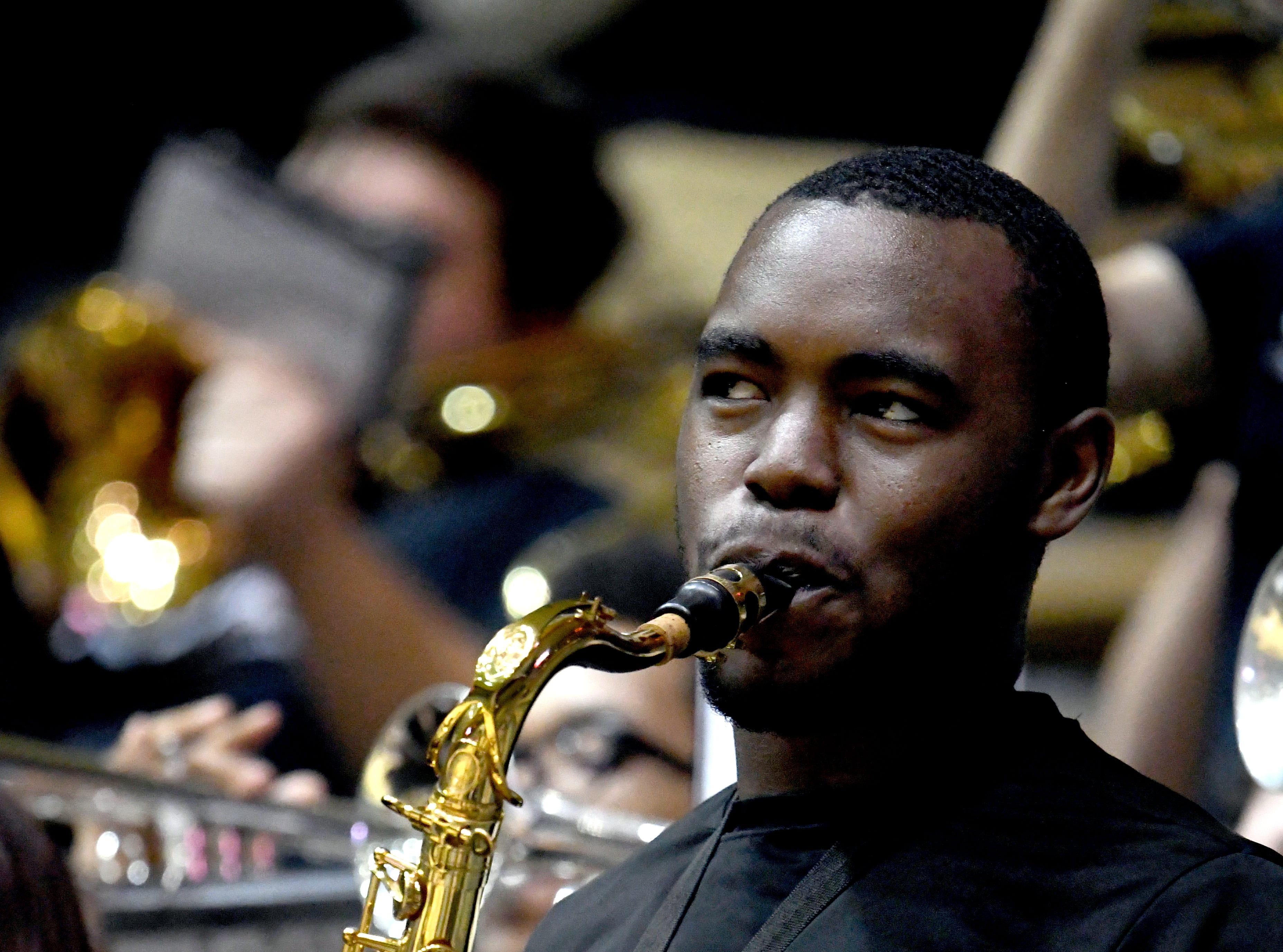 A Pride of Mississippi band member performs during a game against South Alabama in Reed Green Coliseum on Wednesday, November 28, 2018.