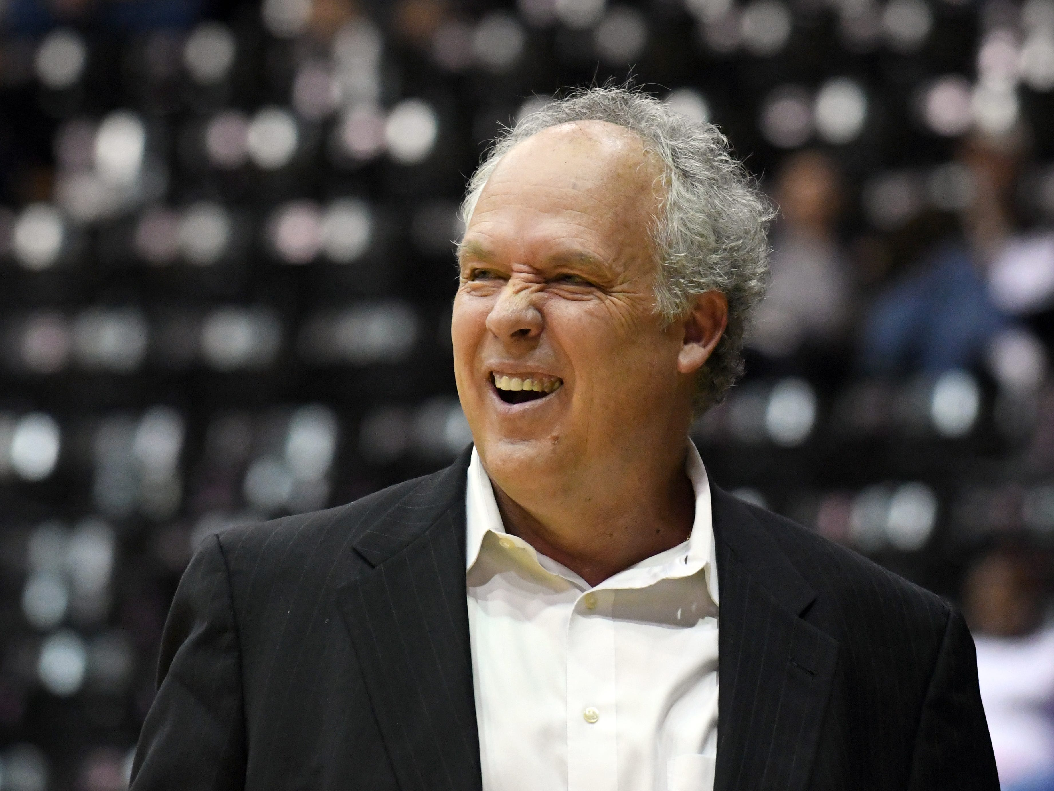 Southern Miss head coach Doc Sadler makes a face to a referee in a game against South Alabama in Reed Green Coliseum on Wednesday, November 28, 2018.