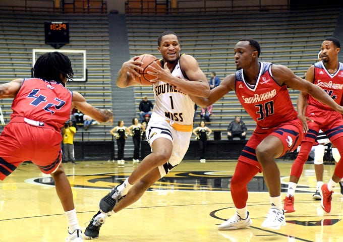 Southern Miss guard Cortez Edwards rushes down the court in a game against South Alabama in Reed Green Coliseum on Wednesday, November 28, 2018.