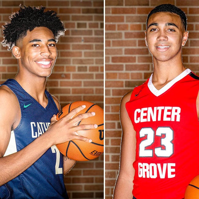 Armaan Franklin (left) and Trayce Jackson-Davis (right) will square off Friday as Cathedral travels to Center Grove.