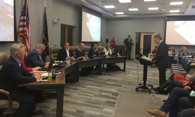 Hamilton Southeastern Schools Superintendent Allen Bourff presents the final redistricting plan to the school board on Wednesday, Nov. 28. The board is expected to vote on the plan in December.