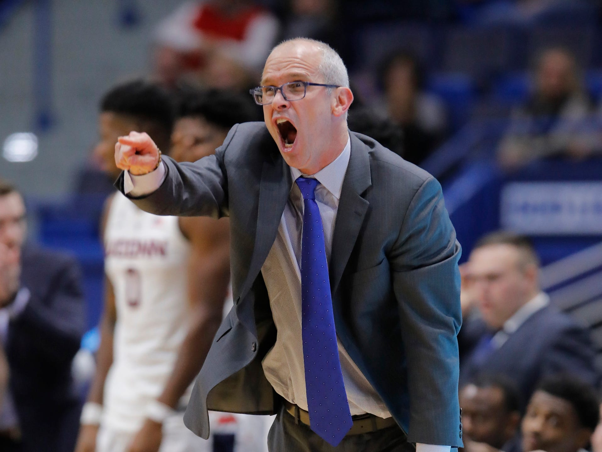 Nov 20, 2018; Storrs, CT, USA; Connecticut Huskies head coach Dan Hurley reacts from the sideline during the second half against the Cornell Big Red in at XL Center. UConn defeated Cornell 91-74. Mandatory Credit: David Butler II-USA TODAY Sports