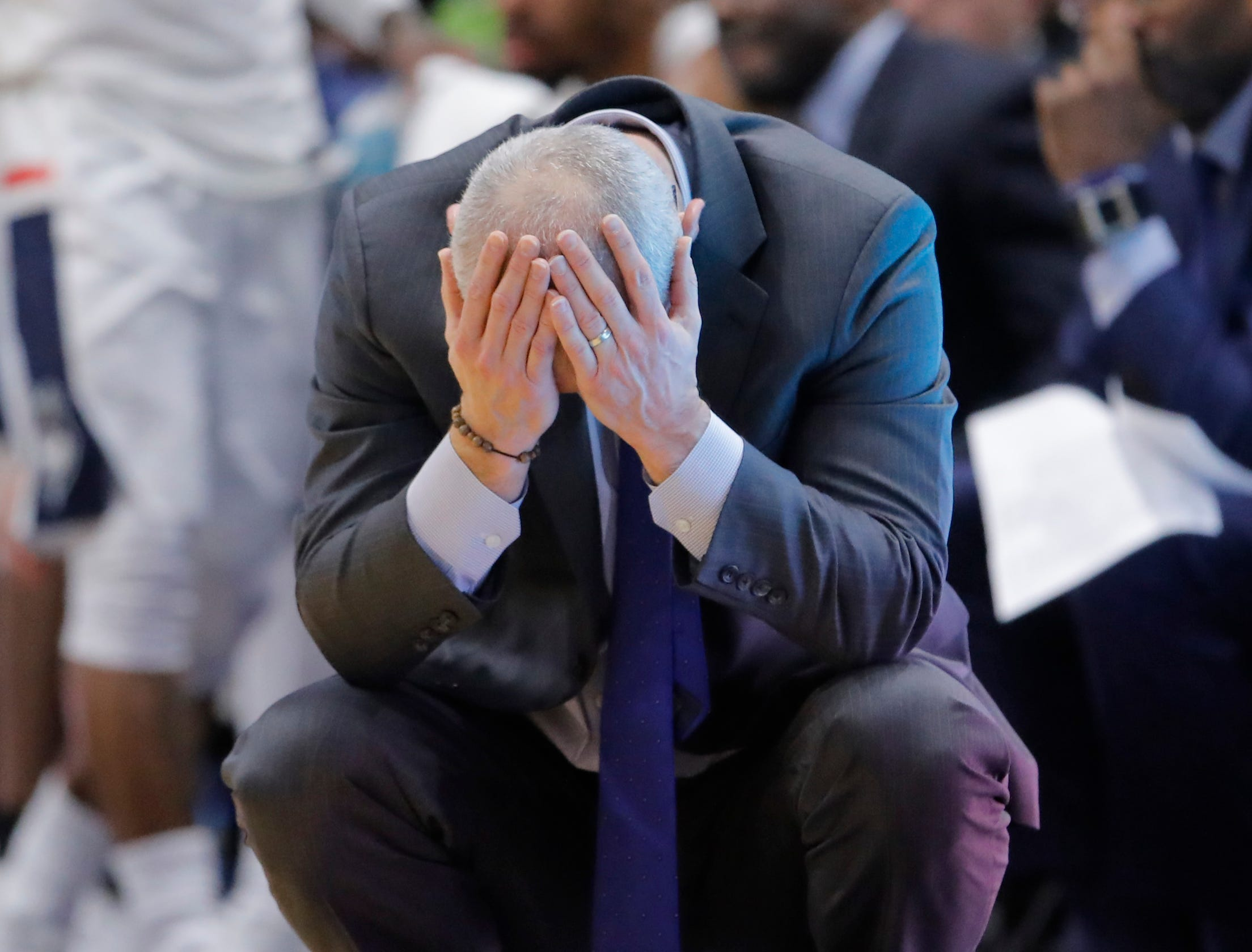 Nov 20, 2018; Storrs, CT, USA; Connecticut Huskies head coach Dan Hurley reacts on the sideline during the second half against the Cornell Big Red in at XL Center. UConn defeated Cornell 91-74. Mandatory Credit: David Butler II-USA TODAY Sports