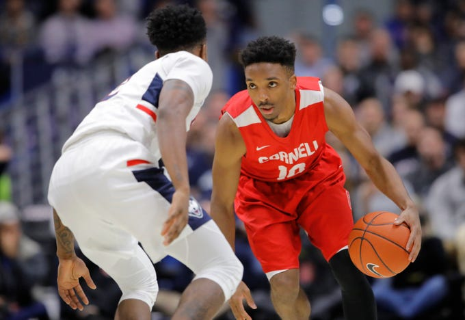 Nov 20, 2018; Storrs, CT, USA; Cornell Big Red guard Matt Morgan (10) returns the ball against Connecticut Huskies guard Tarin Smith (2) in the second half at XL Center. UConn defeated Cornell 91-74. Mandatory Credit: David Butler II-USA TODAY Sports