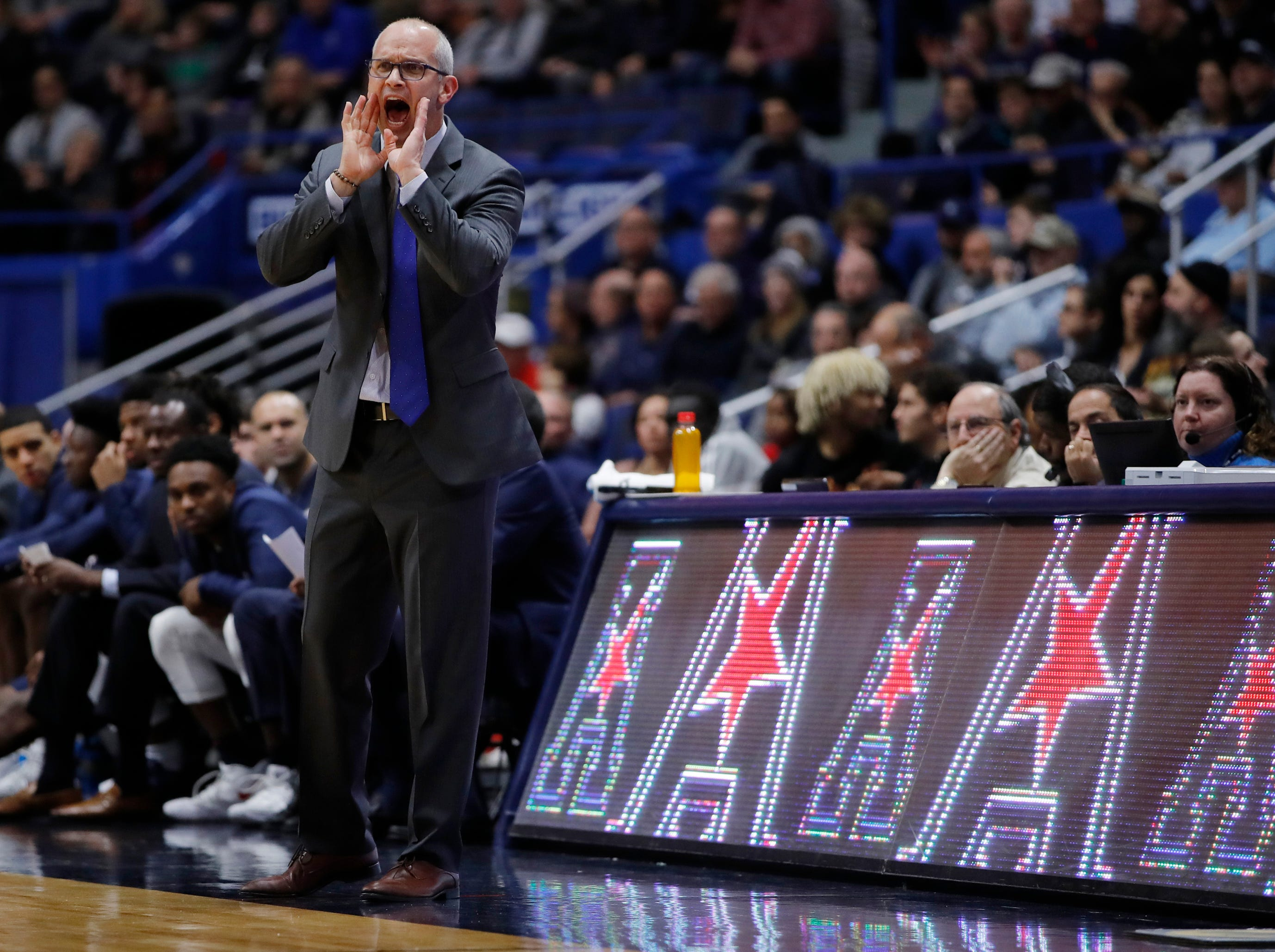 Nov 20, 2018; Storrs, CT, USA; Connecticut Huskies head coach Dan Hurley reacts from the sideline in the first half against the Cornell Big Red at XL Center. Mandatory Credit: David Butler II-USA TODAY Sports