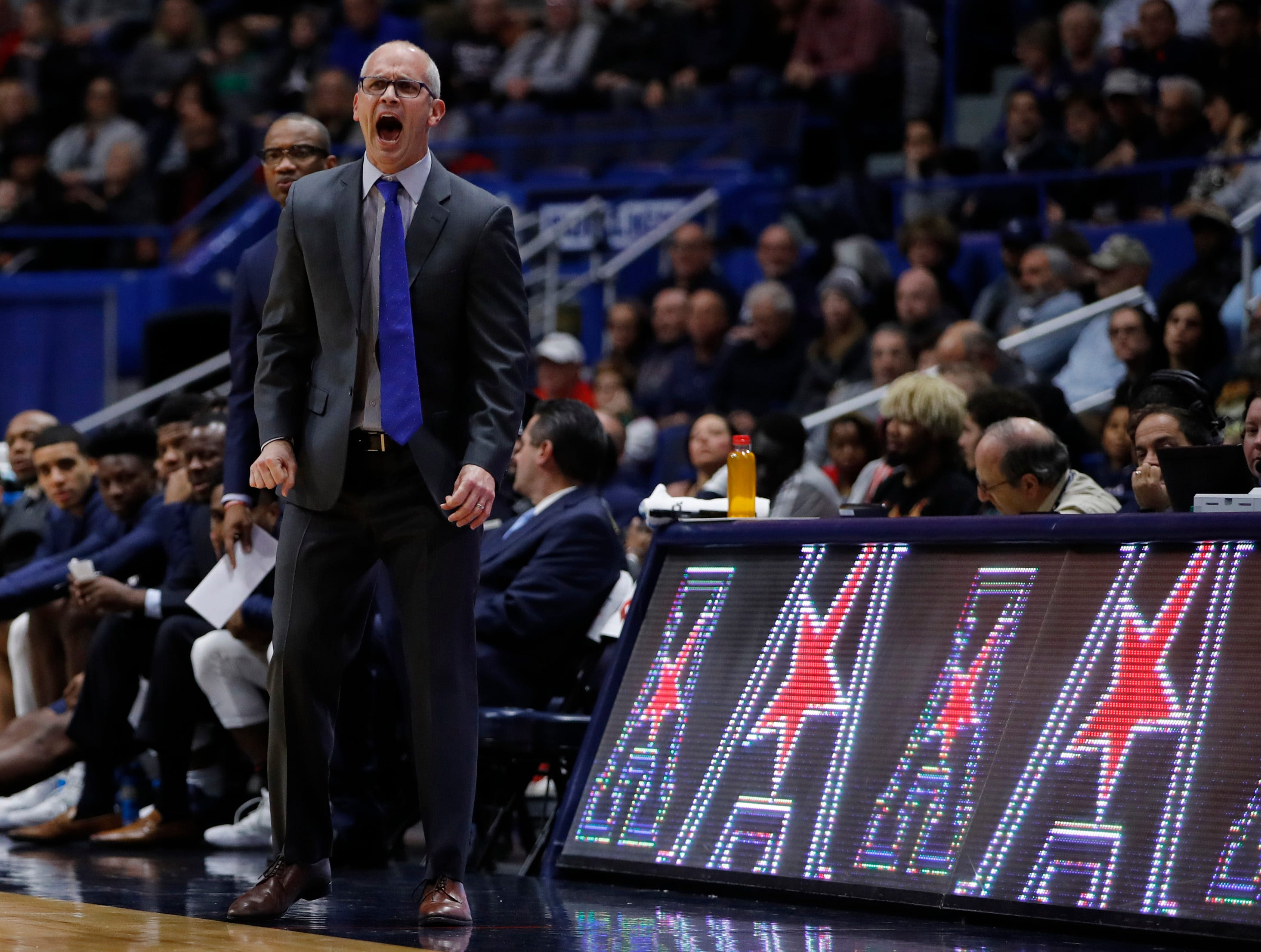Nov 20, 2018; Storrs, CT, USA; Connecticut Huskies head coach Dan Hurley watches from the sideline in the first half against the Cornell Big Red at XL Center. Mandatory Credit: David Butler II-USA TODAY Sports