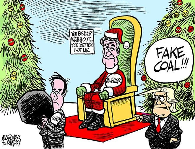 Santa Mueller hands out coal.