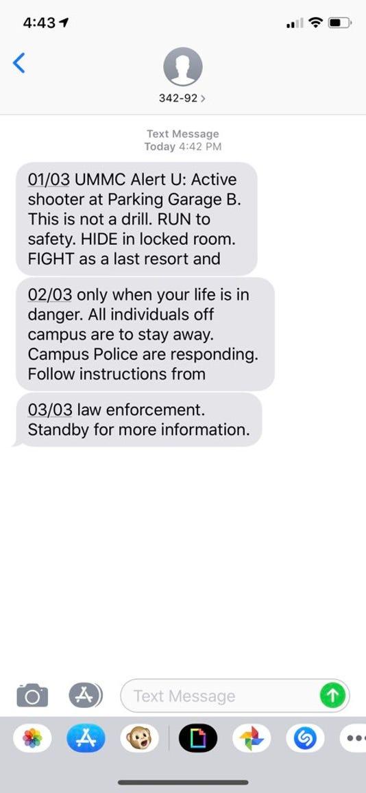 UMMC active shooter alert