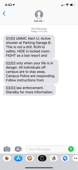 UMMC active shooter alert