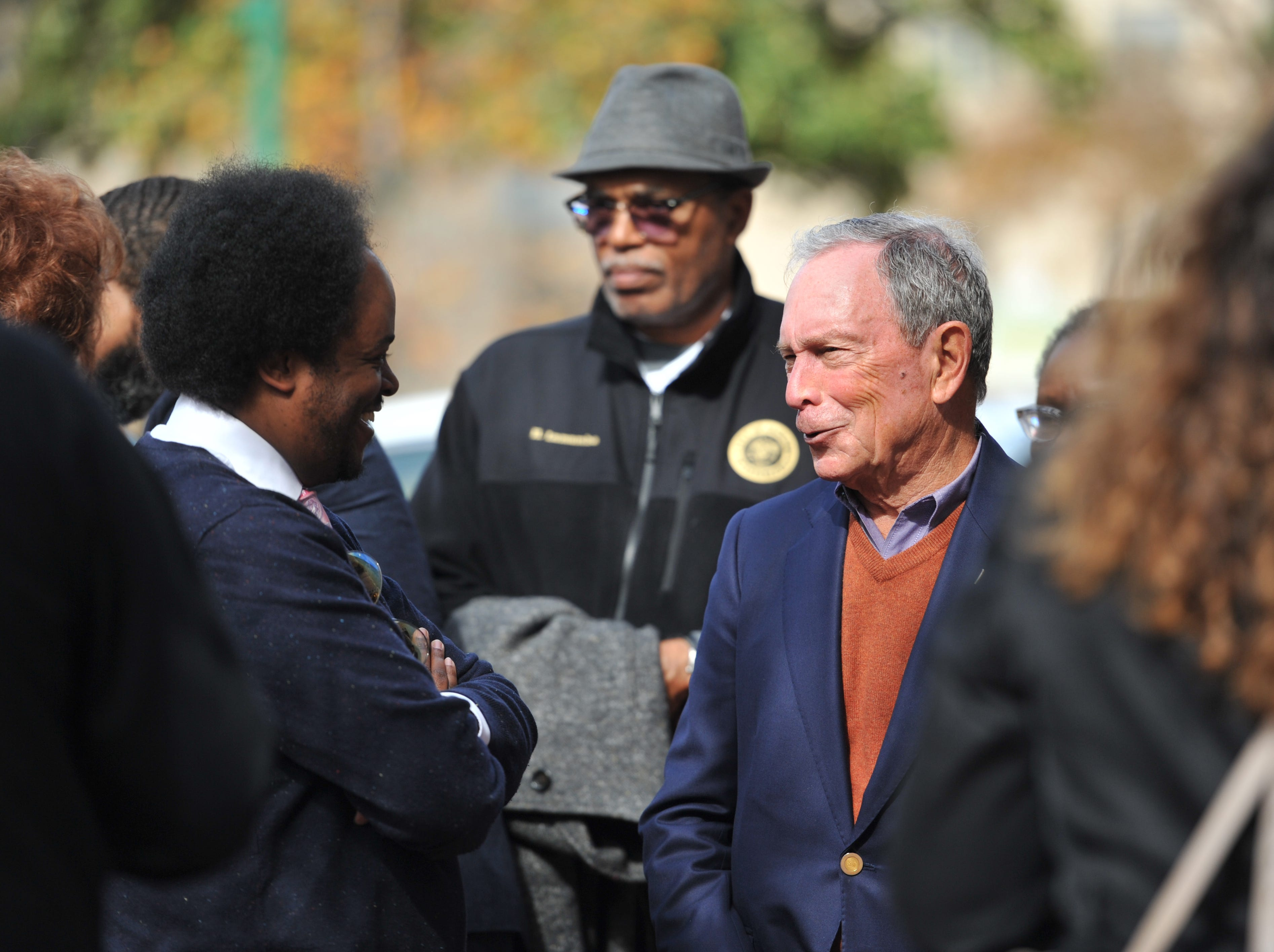 "Philanthropist and former New York City Mayor Michael Bloomberg pauses to talk with people following a Thursday, Nov. 29 news conference in Jackson during which he and Jackson Mayor Chokwe Antar Lumumba announced that Jackson has been named a Bloomberg Philanthropies 2018 Public Art Winner. Jackson will receive $1 million for its project ""Fertile Ground: Inspiring Dialogue About Food Access."""