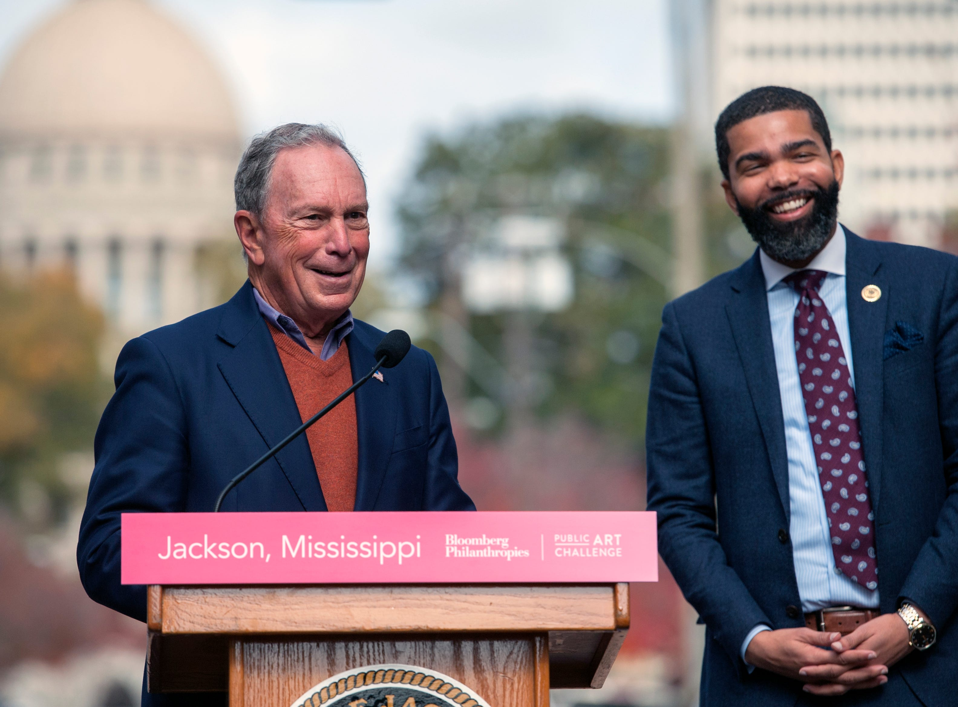 "Philanthropist and former New York City Mayor Michael Bloomberg, left, and Jackson Mayor Chokwe Antar Lumumba, right, announced during a press conference in Jackson Thursday, Nov. 29, that Jackson has been named a Bloomberg Philanthropies 2018 Public Art Winner. Jackson will receive $1 million for its project ""Fertile Ground: Inspiring Dialogue About Food Access."""