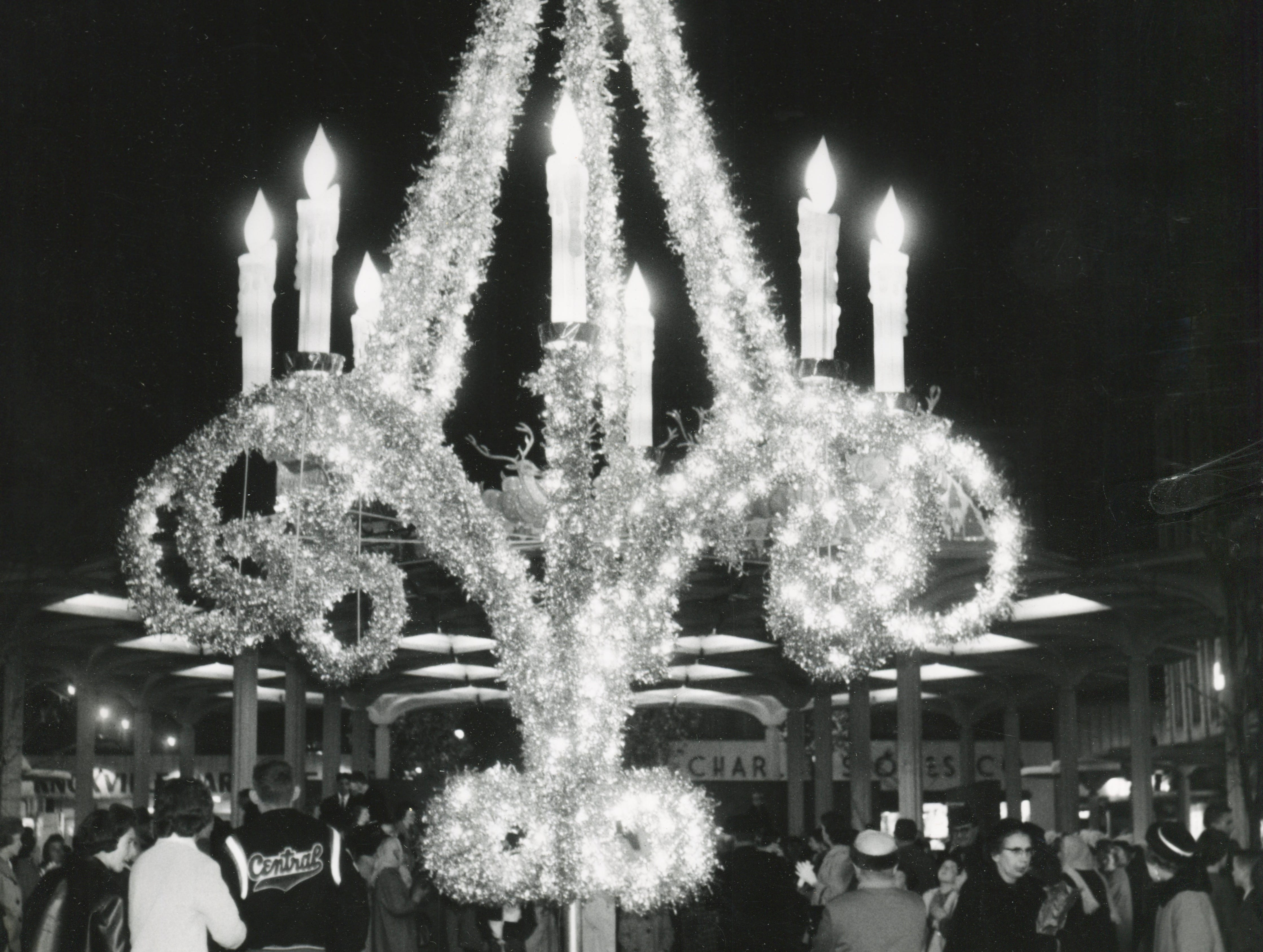 A giant candelabra is the Christmas decoration centerpiece on Nov. 25, 1962, at Market Square.