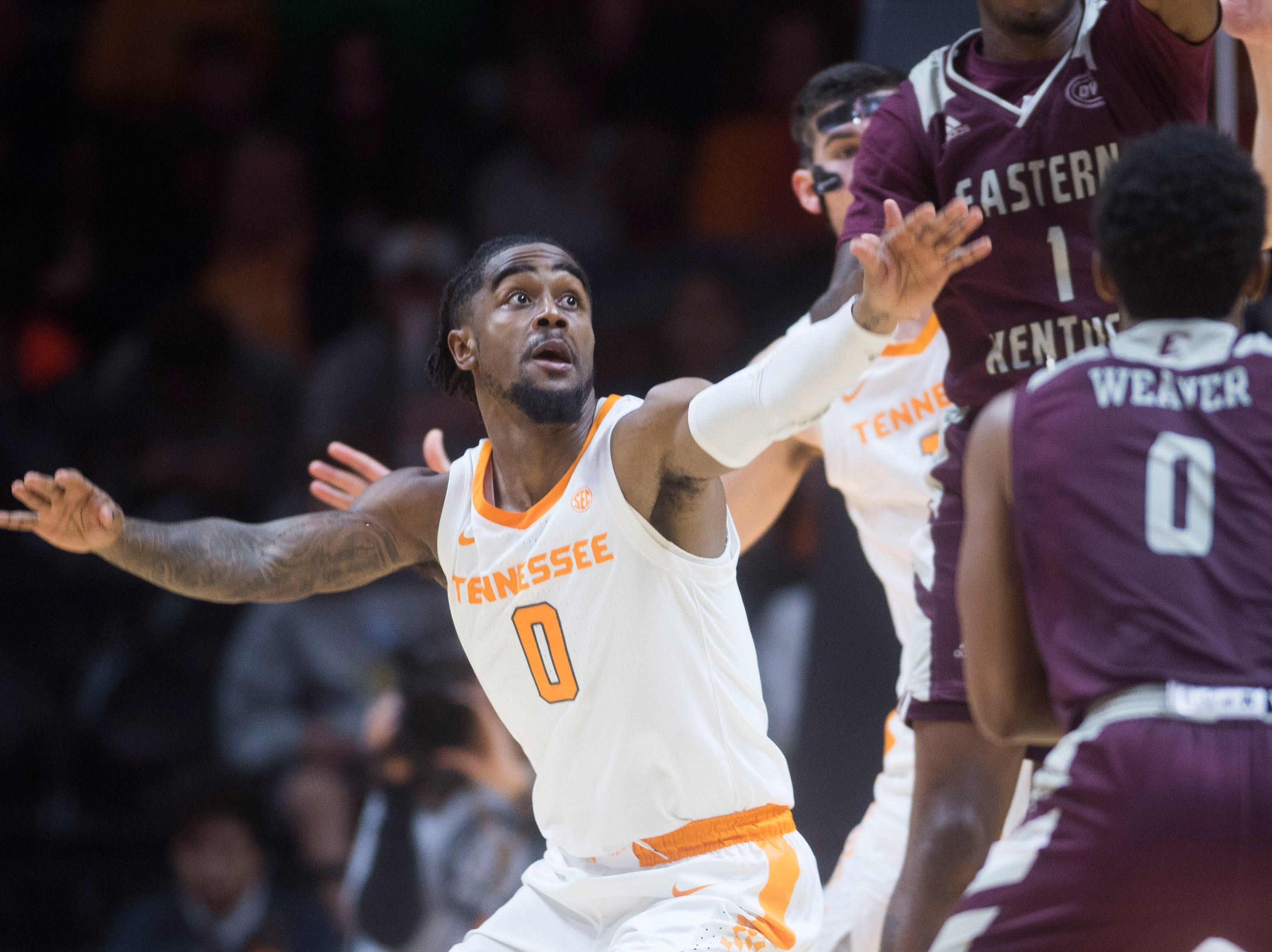 Tennessee's Jordan Bone (0) keeps his eyes on the ball during the second half of a NCAA men's basketball game between Tennessee and Eastern Kentucky University at Thompson-Boling Arena Wednesday, Nov. 28, 2018. Tennessee defeated EKU 95-67.