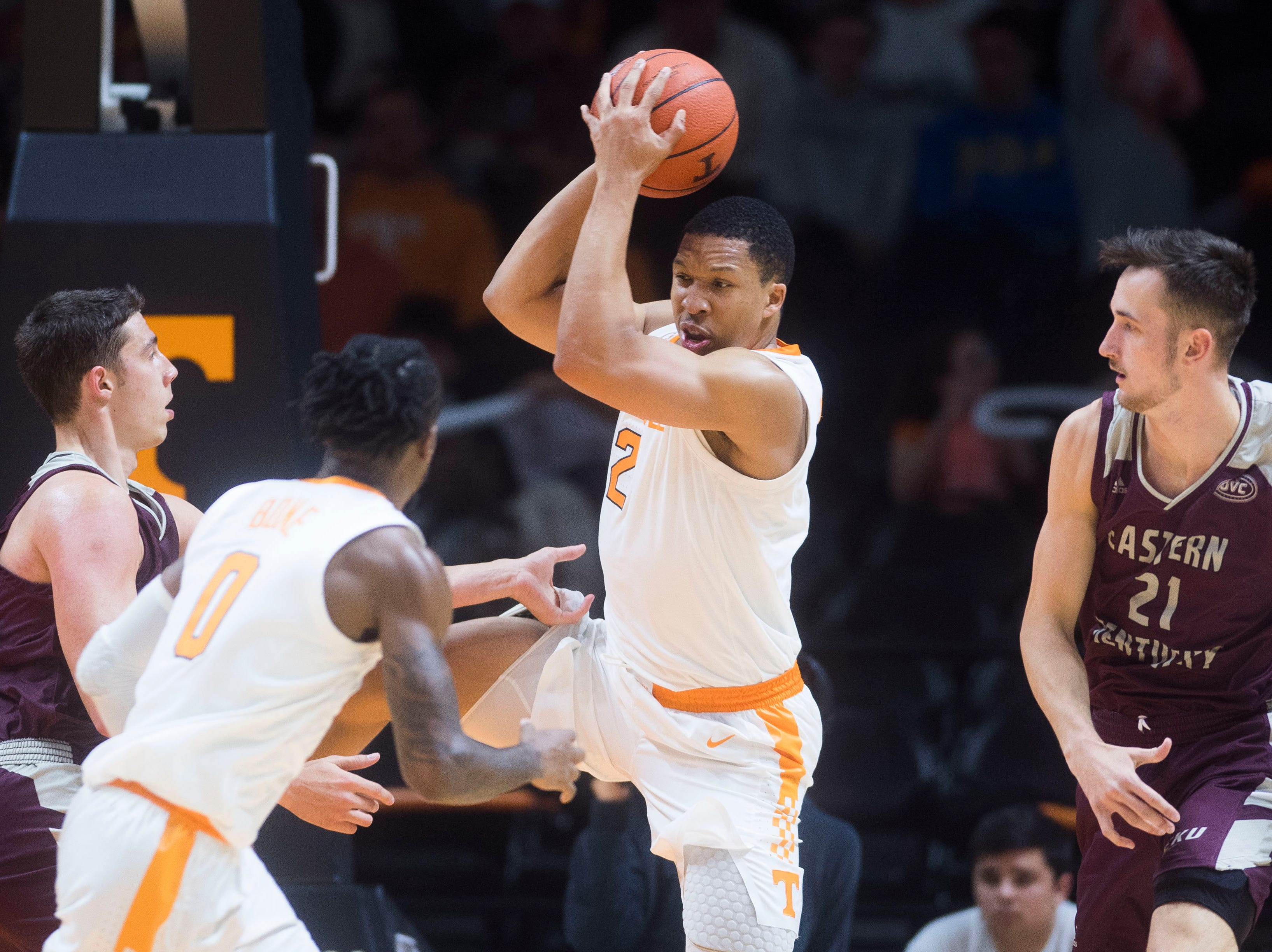 Tennessee's Grant Williams (2) grabs the ball during the second half of a NCAA men's basketball game between Tennessee and Eastern Kentucky University at Thompson-Boling Arena Wednesday, Nov. 28, 2018. Tennessee defeated EKU 95-67.