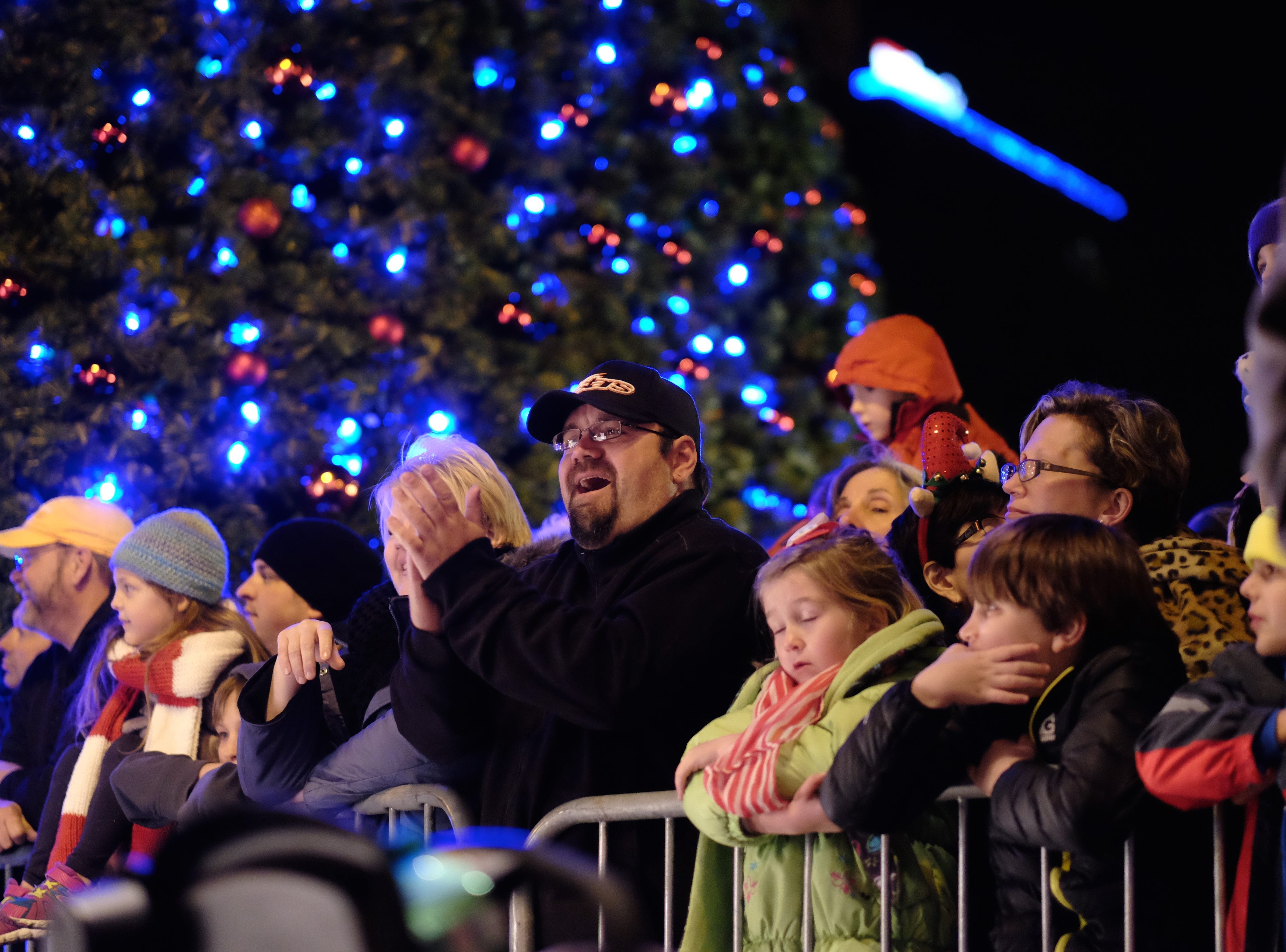 Spectators gather around Gay Street for the 43rd annual WIVK Christmas Parade on Friday, December 4, 2015, in Knoxville.