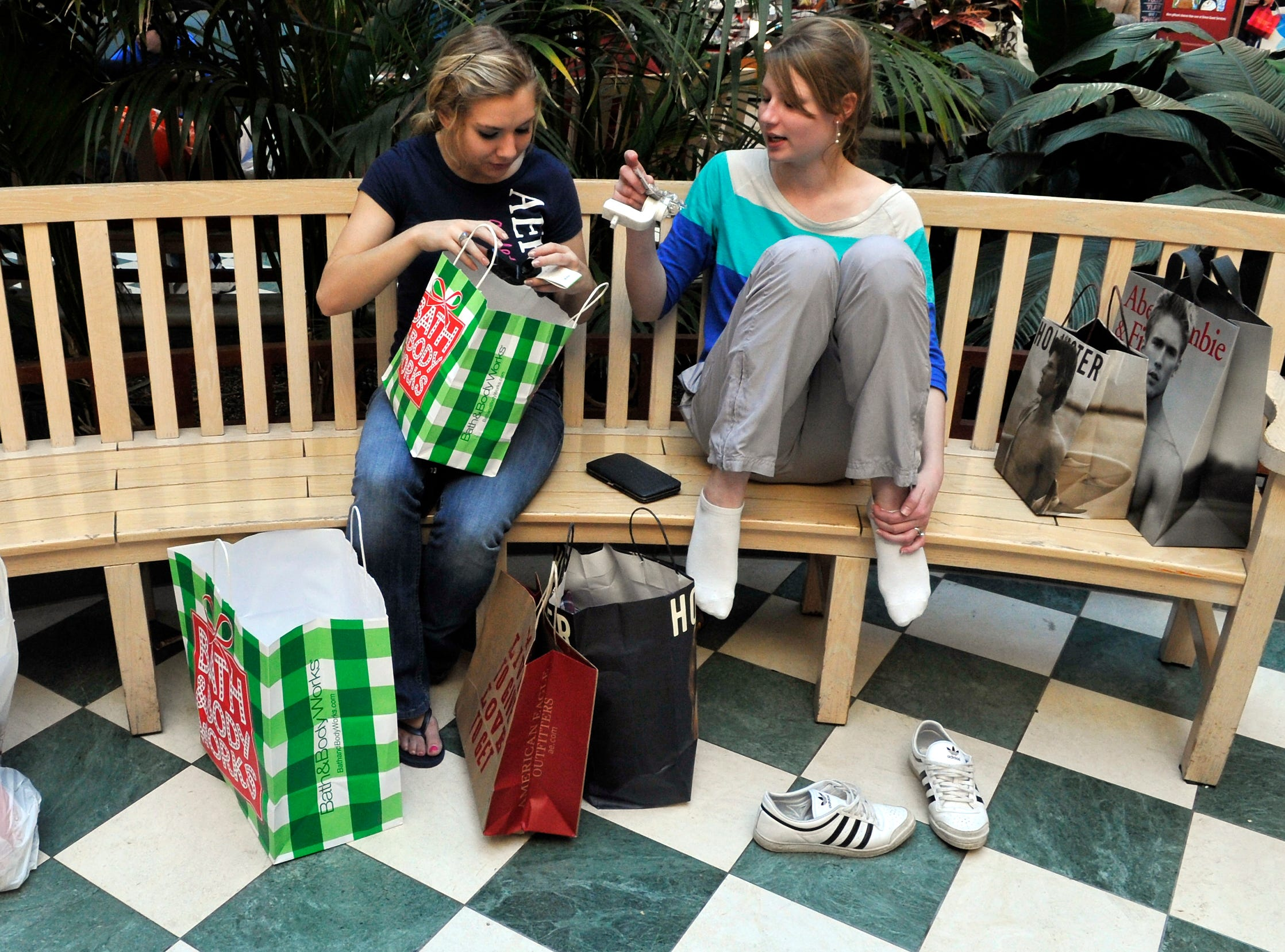 Gracie Clelland, 17, and her friend Ann Vogelsang a exchange student from Germany left Cosby in the early morning hours of Friday and arrived at West Town Mall at 2:30 am to start their Christmas shopping.Despite the  stores opening on the Thanksgiving holiday, shoppers flocked to West Town Mall on black Friday looking to find discounts on everything from appliances and televisions to toys and clothes.  Some Black Friday shoppers arrived at the West Town Mall for the Midnight opening and were still there well after dawn.