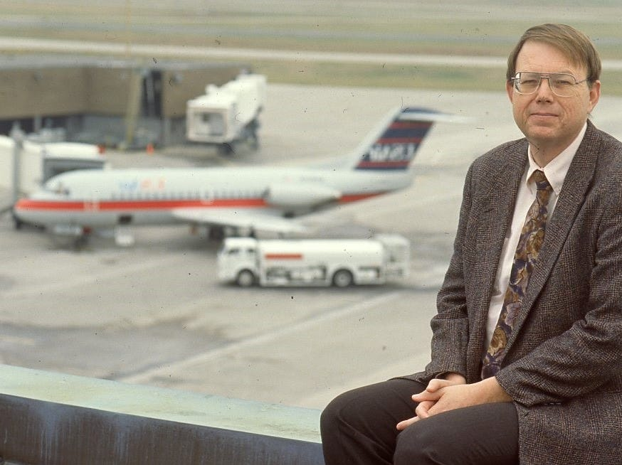 Bill Marrison sits on the roof of the terminal building at McGhee Tyson Airport on Jan. 8, 1992.