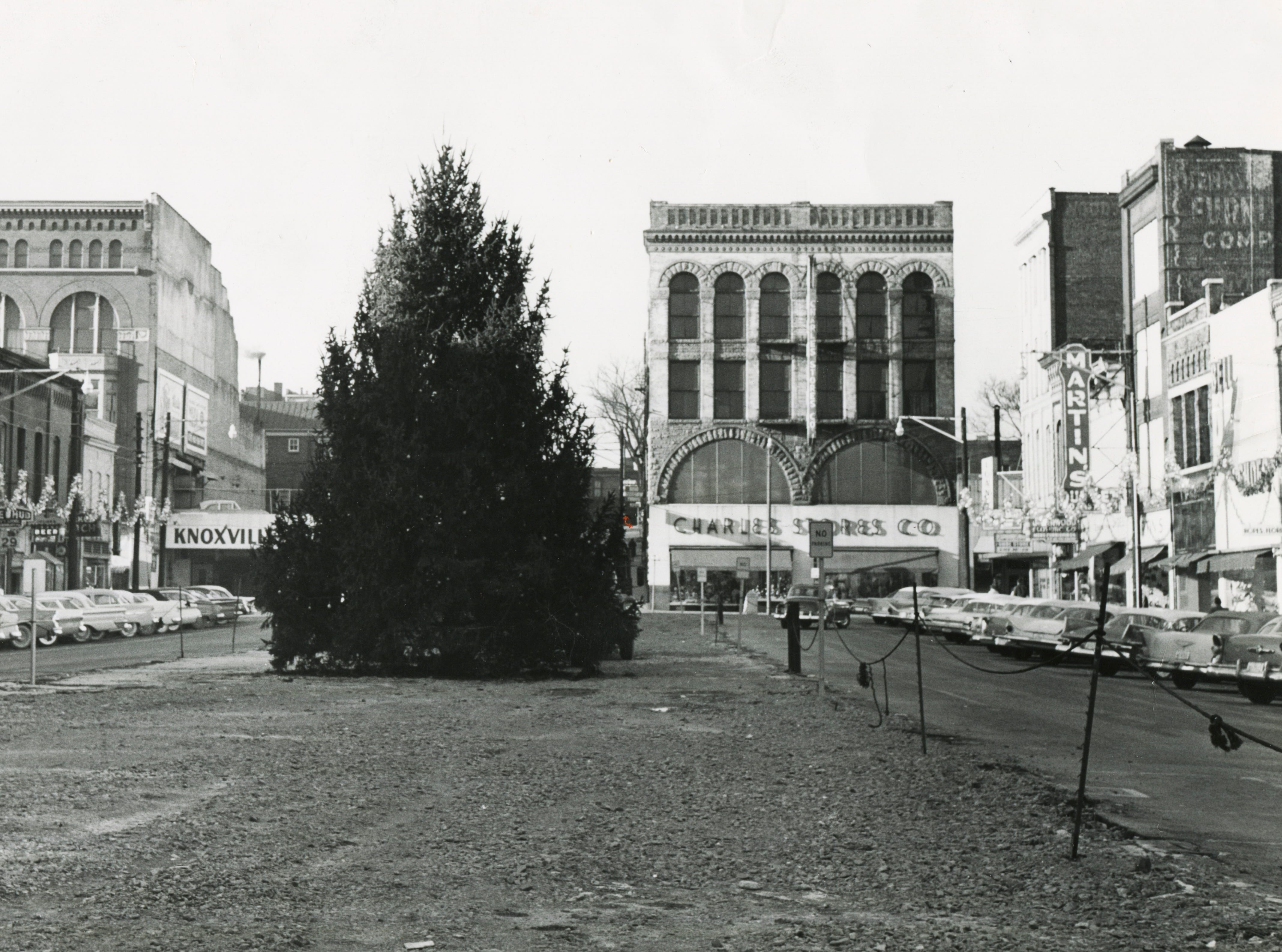 A 35-foot Christmas tree is pictured on the site of the razed Market House on Dec. 1, 1960, at Market Square. The tree  was donated by A.l. Simpson, 3707 Knox Lane; nurseryman Joe N. Howell took care of the cutting and transportation duties. It is the first time in 20 years that Market Square has had a Christmas tree.
