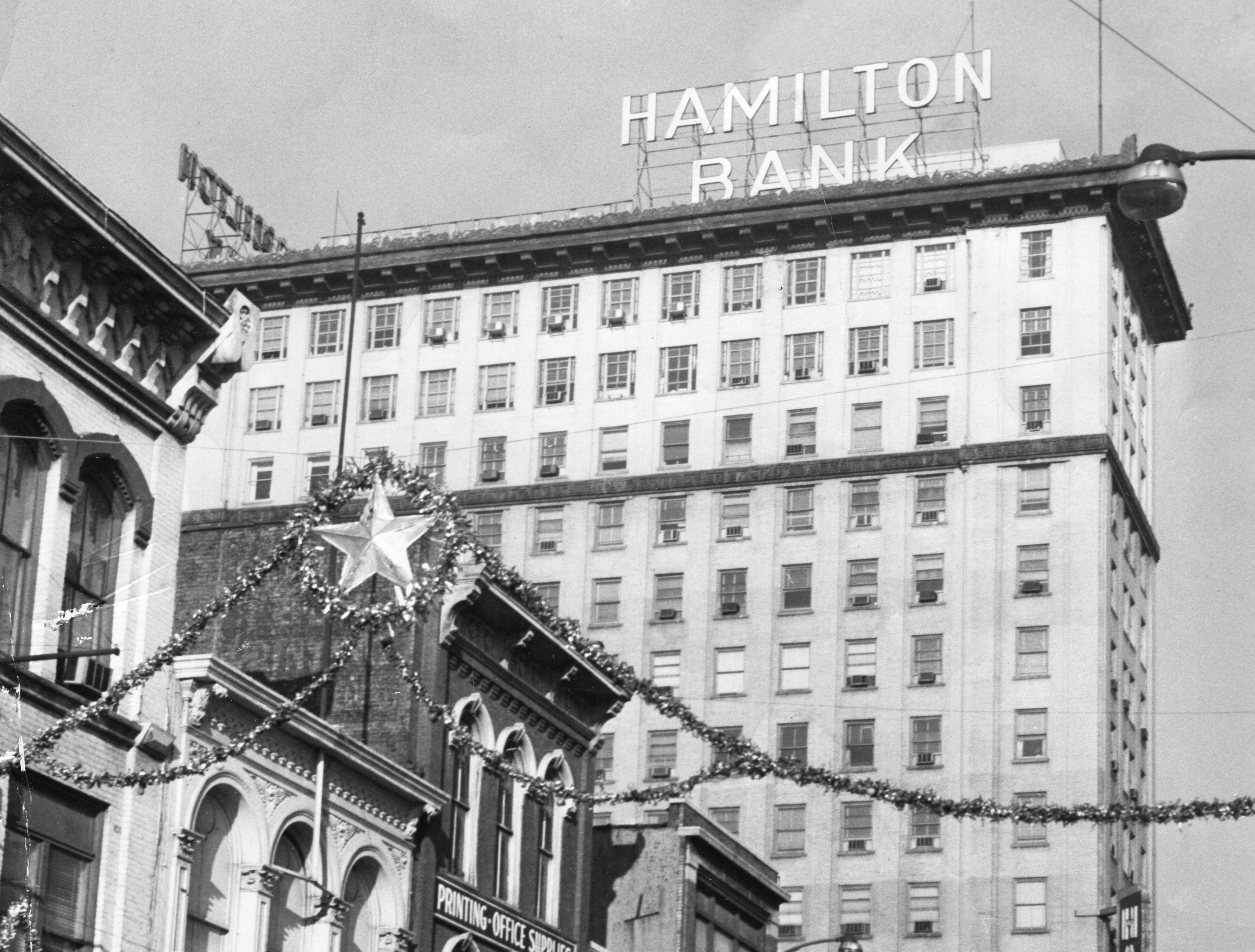 The Holston Building, home to Hamilton National Bank, is pictured Dec. 29, 1961. The building now is a condo development called the Holston. In the foreground is the now razed west side of the 600 block of Gay Street.