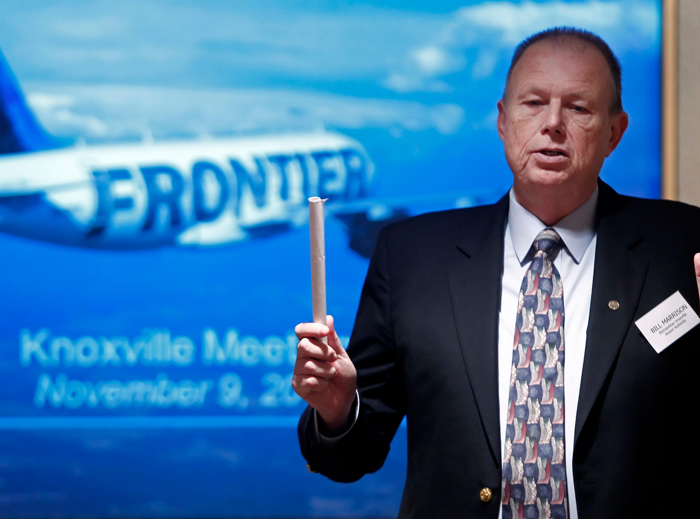 Bill Marrison, president of the Metropolitan Knoxville Airport Authority speaks during a meeting at Scripps Networks Friday, Nov. 9, 2011.