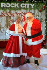 Santa and Mrs. Claus are part of the holiday festivities at Rock City's Enchanted Garden of Lights.