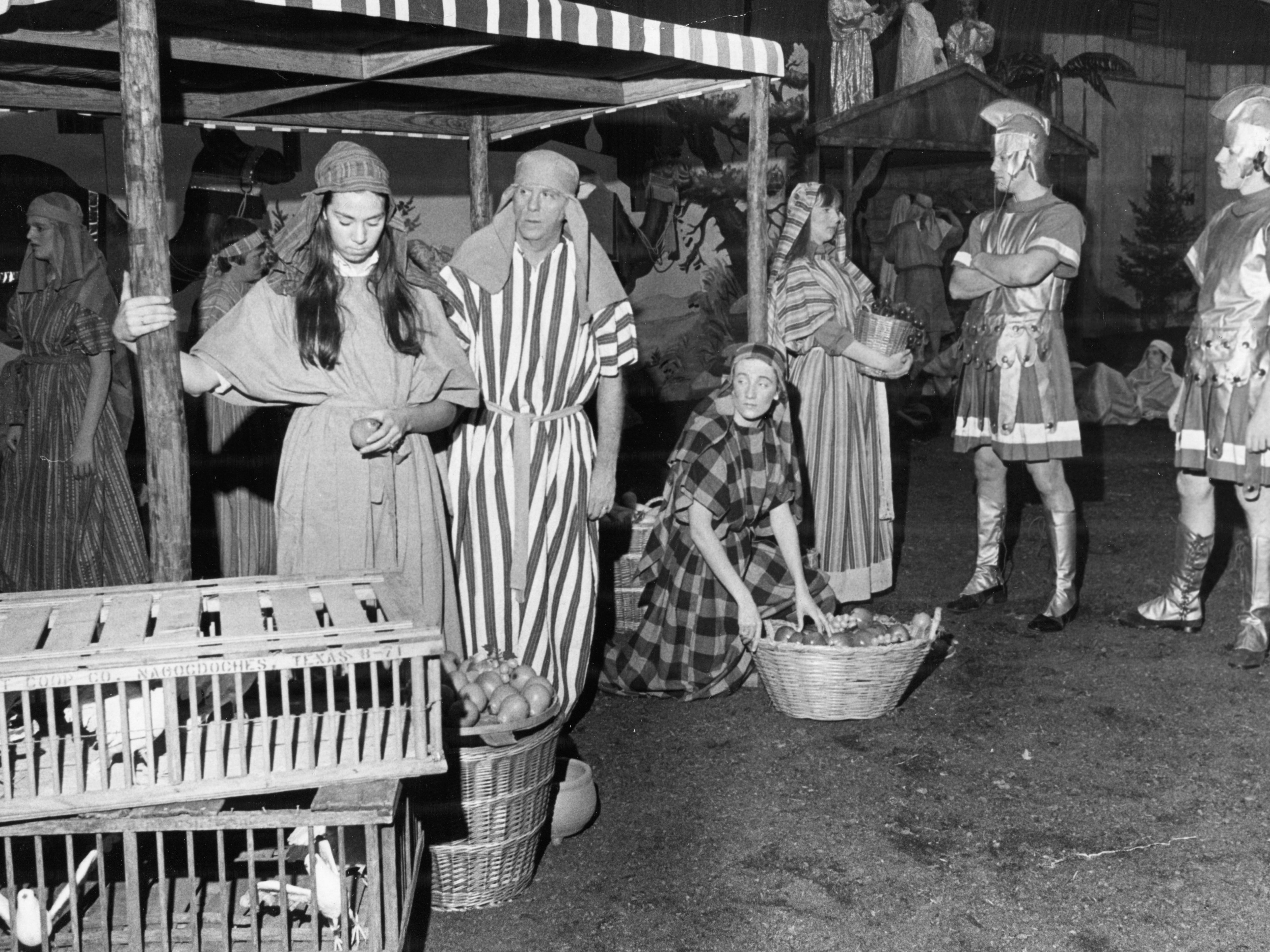 Rehearsing for the Nativity Pageant are Sharon Regas, Latain McGee, Jan Davis, Susan Stone, Jon Burnett, and Steve Reese on Dec. 14, 1969, at the Civic Coliseum.