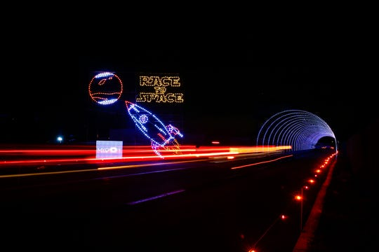 The Bristol Motor Speedway's Speedway In Lights has a definite feel of motion.