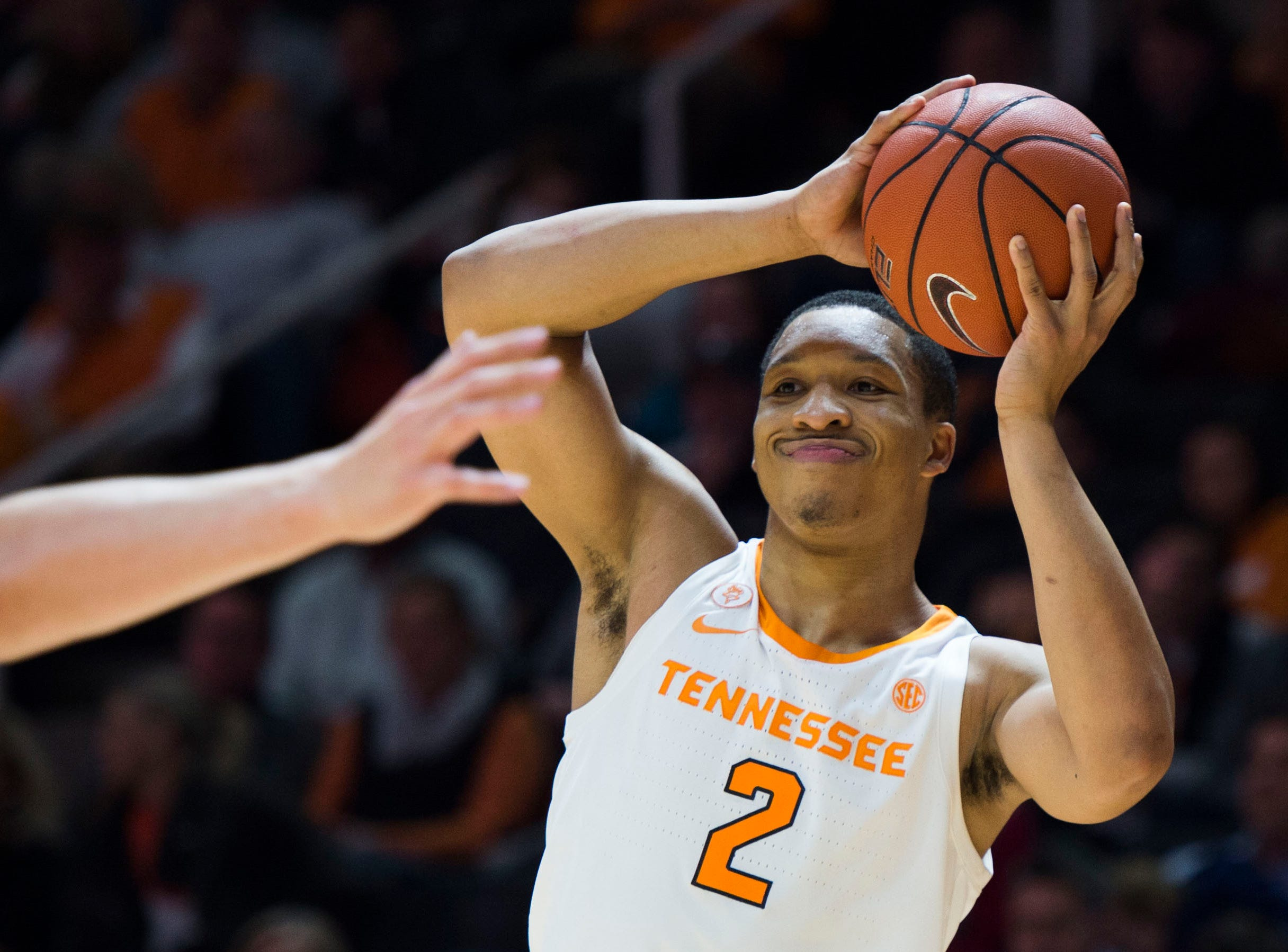 Tennessee's Grant Williams (2) looks to pass during the first half of a NCAA men's basketball game between Tennessee and Eastern Kentucky University at Thompson-Boling Arena Wednesday, Nov. 28, 2018.