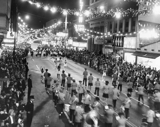 The Christmas parade is pictured Nov. 28, 1963, on Gay Street.