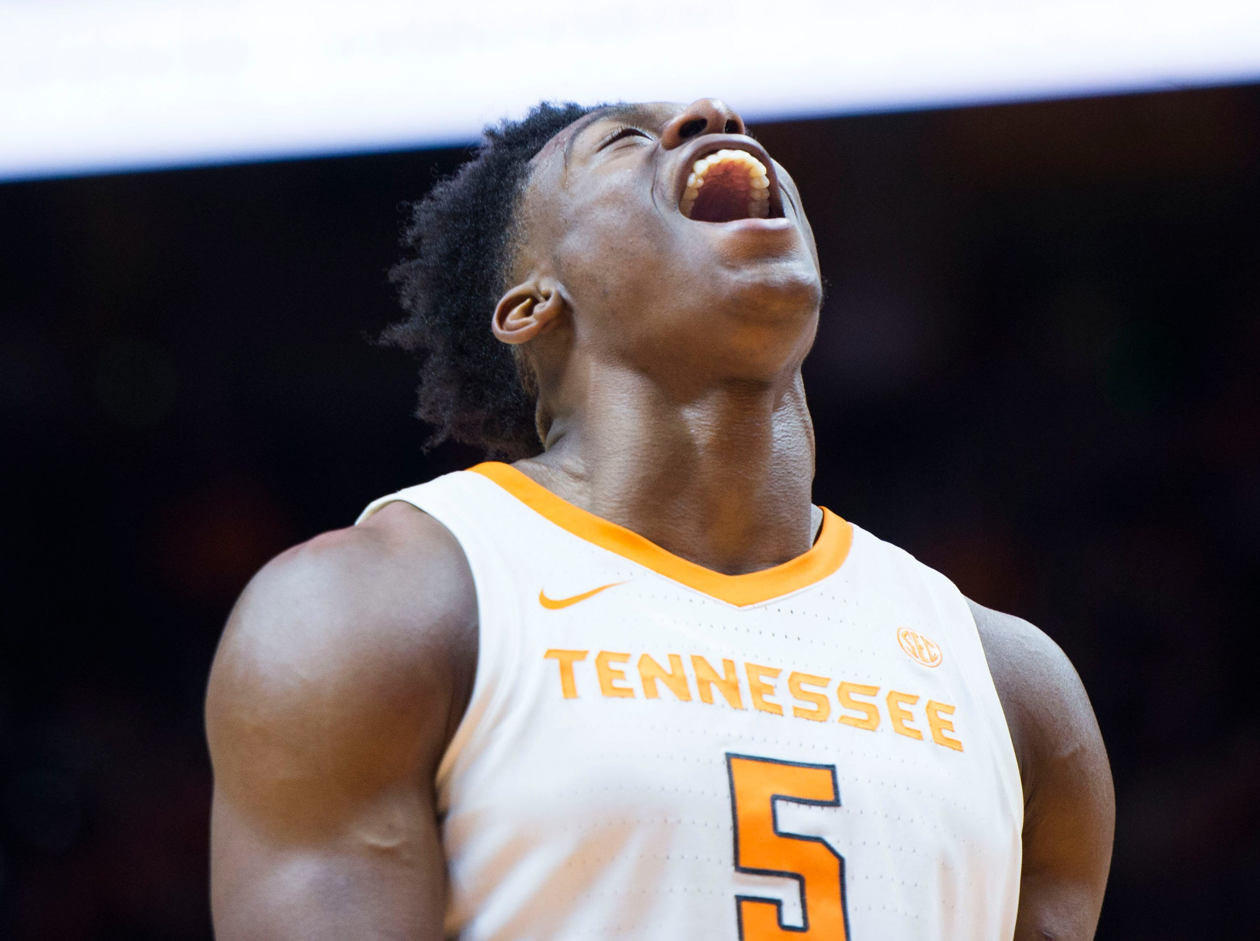 Tennessee's Admiral Schofield (5) celebrates a dunk during the first half of a NCAA men's basketball game between Tennessee and Eastern Kentucky University at Thompson-Boling Arena Wednesday, Nov. 28, 2018.