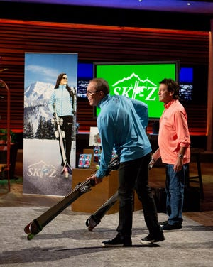"""Kyle Allen, left, of Lafayette and Nick Palermo of Aspen, Colorado demonstrate their patented product on """"Shark Tank,"""" which airs Sunday on ABC."""