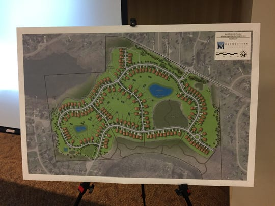 A rendering of a previously proposed 154-home subdivision, Waters Edge Village, in Hamburg Township. Developers have scrapped the plan. Midwestern Consulting created the rendering.