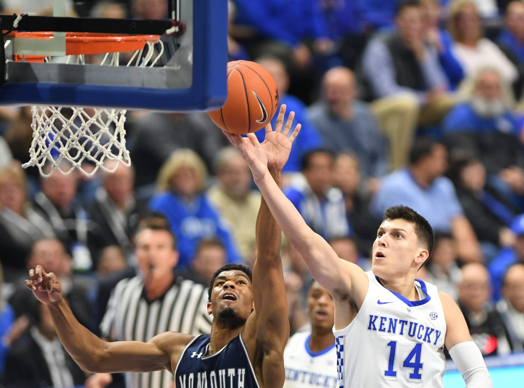 UK G Tyler Herro lays up the ball during the University of Kentucky mens basketball game against Monmouth at Rupp Arena in Lexington, Kentucky on Wednesday, November 28, 2018.