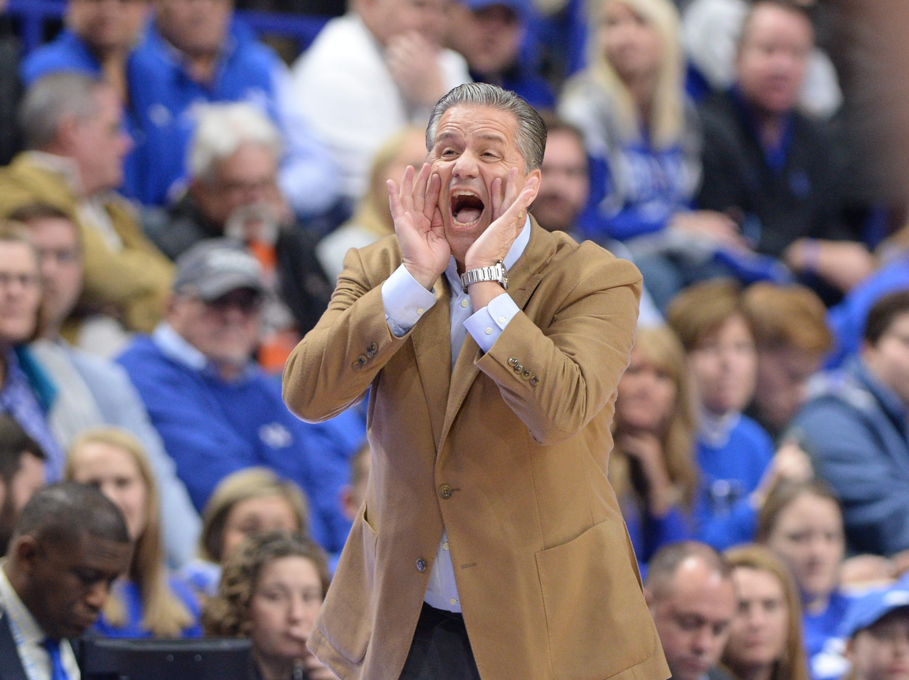 UK head coach John Calipari during the University of Kentucky mens basketball game against Monmouth at Rupp Arena in Lexington, Kentucky on Wednesday, November 28, 2018.