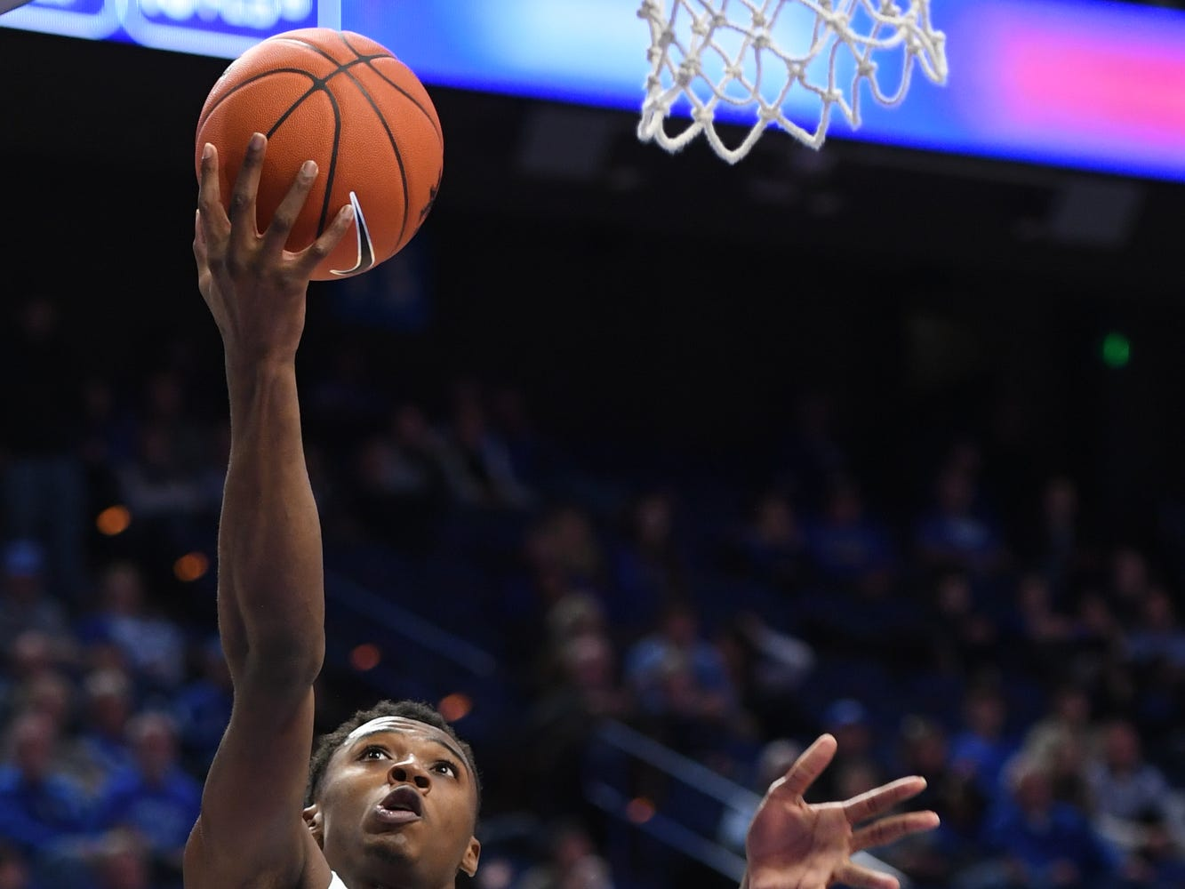 UK G Ashton Hagans lays up the ball during the University of Kentucky mens basketball game against Monmouth at Rupp Arena in Lexington, Kentucky on Wednesday, November 28, 2018.
