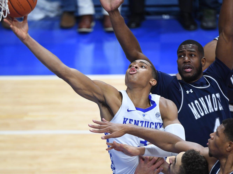 UK G Keldon Johnson lays up the ball during the University of Kentucky mens basketball game against Monmouth at Rupp Arena in Lexington, Kentucky on Wednesday, November 28, 2018.