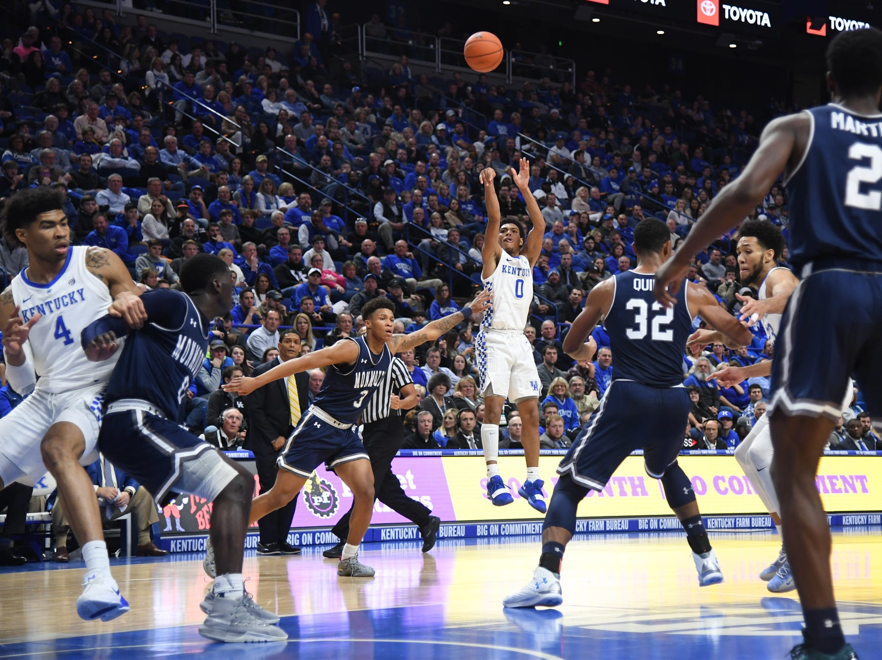 UK G Quade Green shoots during the University of Kentucky mens basketball game against Monmouth at Rupp Arena in Lexington, Kentucky on Wednesday, November 28, 2018.