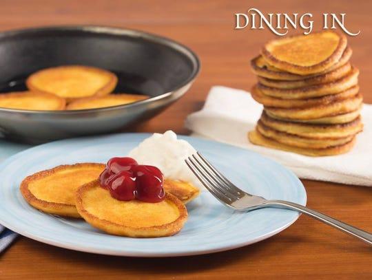 Vanilla cheese pancake latke by Dining In. Courtesy of Kosher.com.