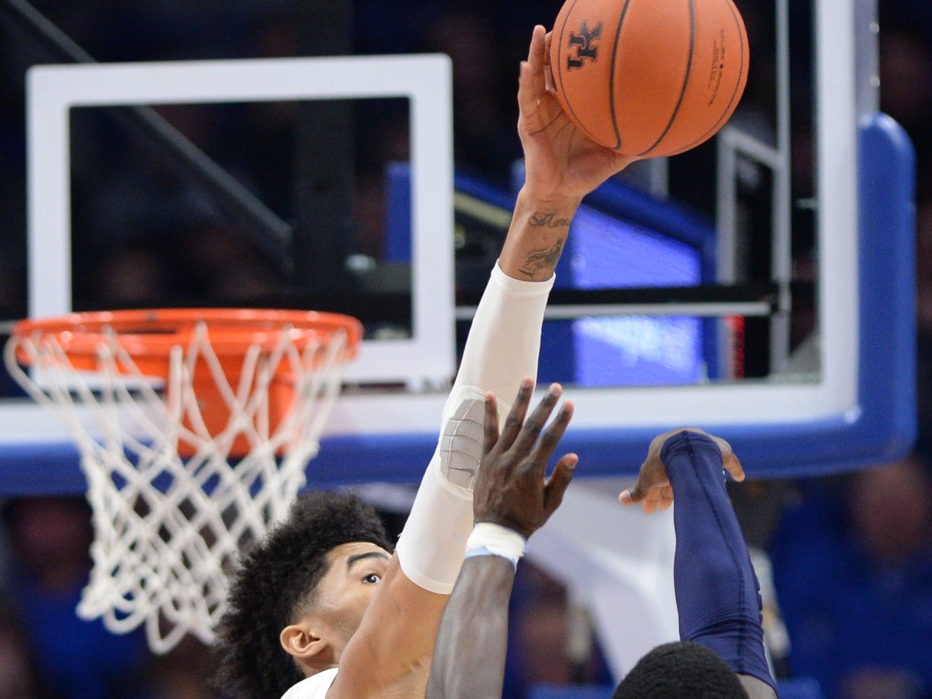 UK F Nick Richards blocks the shot during the University of Kentucky mens basketball game against Monmouth at Rupp Arena in Lexington, Kentucky on Wednesday, November 28, 2018.