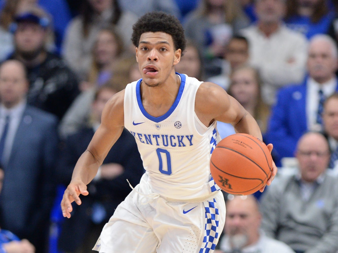UK G Quade Green brings the ball up court during the University of Kentucky mens basketball game against Monmouth at Rupp Arena in Lexington, Kentucky on Wednesday, November 28, 2018.
