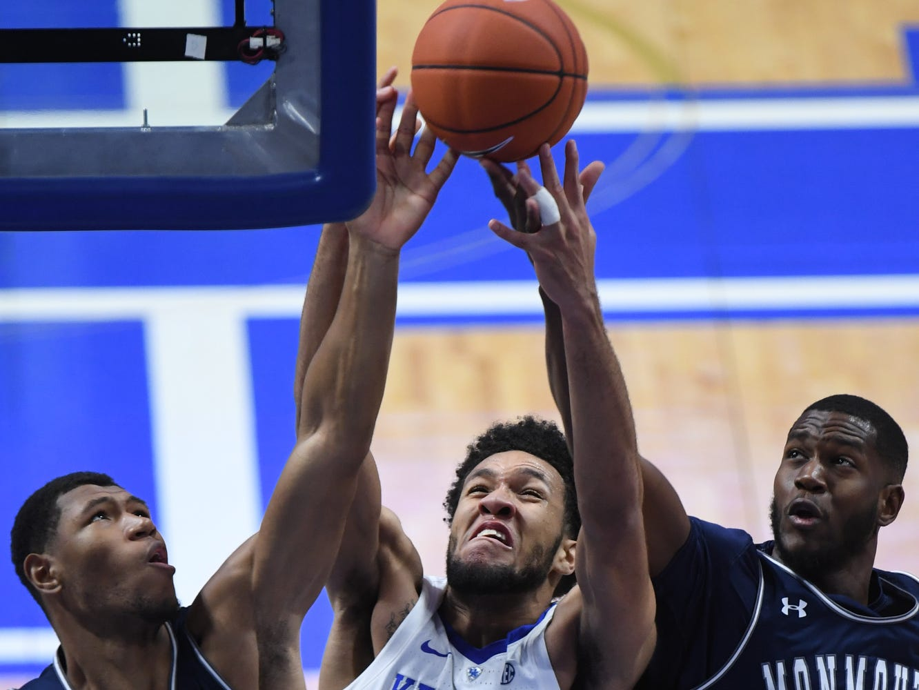 UK F EJ Montgomery grabs a rebound during the University of Kentucky mens basketball game against Monmouth at Rupp Arena in Lexington, Kentucky on Wednesday, November 28, 2018.