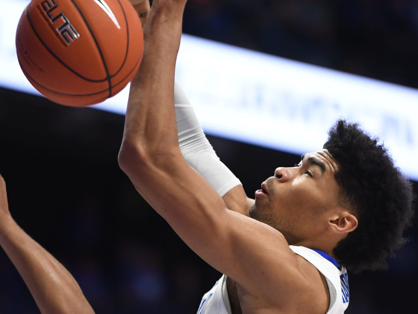 UK F Nick Richards gets a put back dunk during the University of Kentucky mens basketball game against Monmouth at Rupp Arena in Lexington, Kentucky on Wednesday, November 28, 2018.