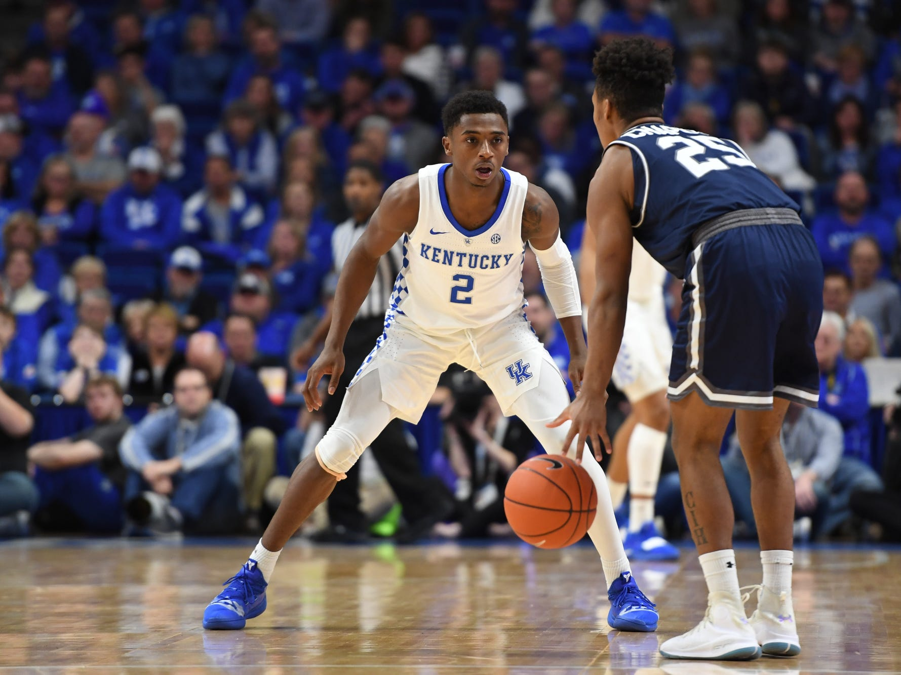 UK G Ashton Hagans defends the ball during the University of Kentucky mens basketball game against Monmouth at Rupp Arena in Lexington, Kentucky on Wednesday, November 28, 2018.