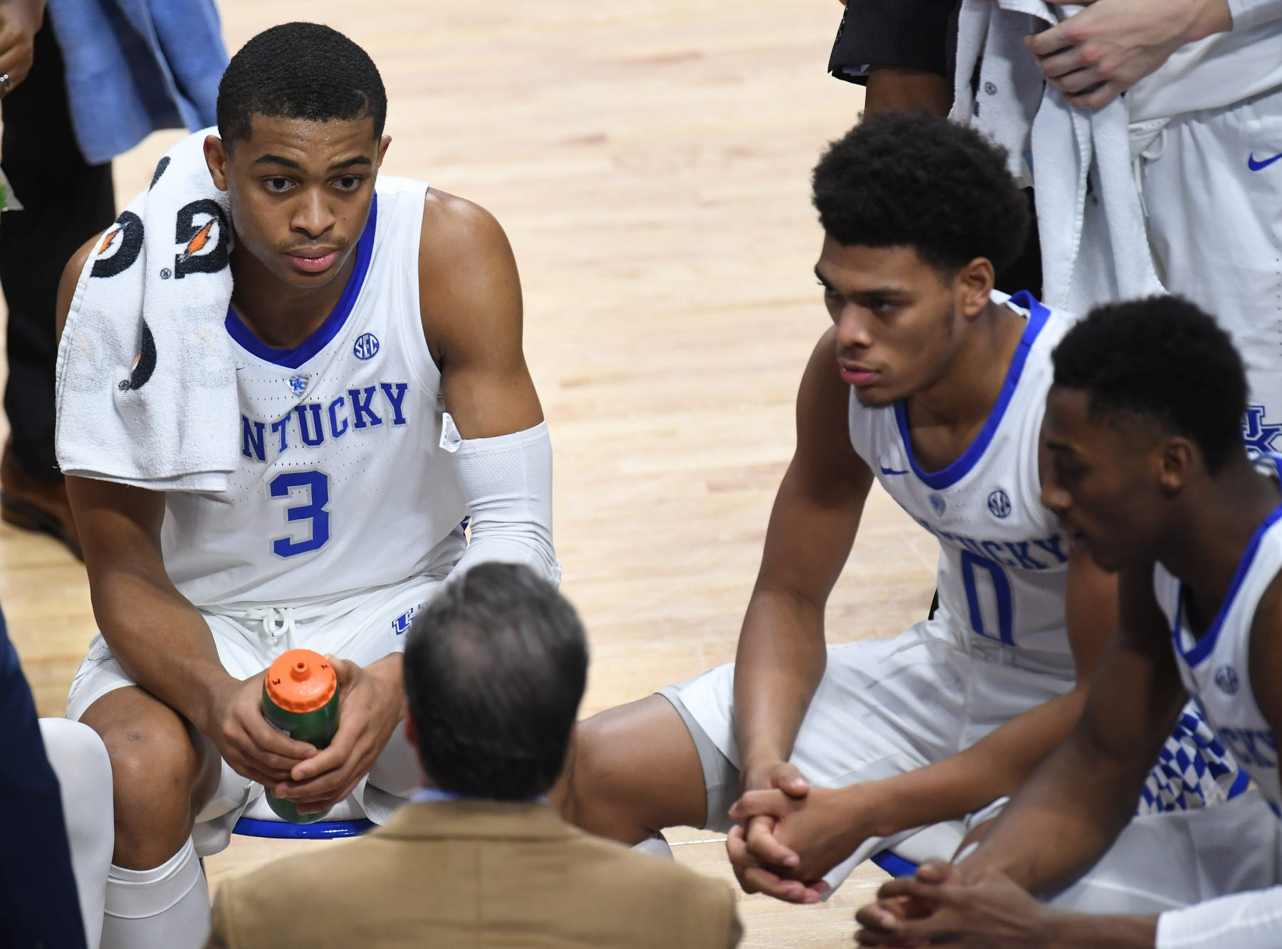 UK timeout during the University of Kentucky mens basketball game against Monmouth at Rupp Arena in Lexington, Kentucky on Wednesday, November 28, 2018.