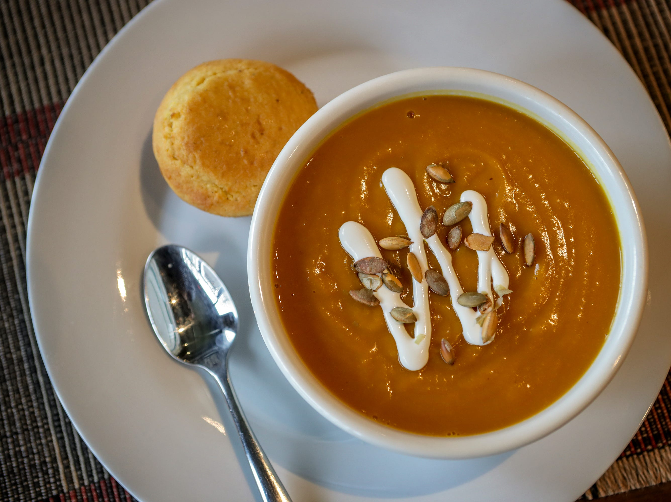 Butternut Squash - Apple Bisque Soup at Farm To Fork in Portland.