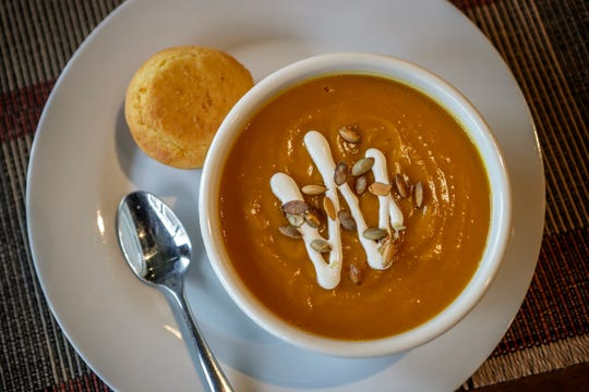 Butternut Squash - Apple Bisque Soup at Farm To Fork in Portland.November 29, 2018
