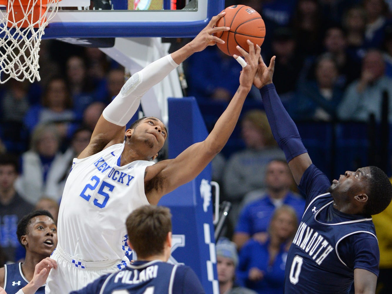 UK F PJ Washington grabs a rebound during the University of Kentucky mens basketball game against Monmouth at Rupp Arena in Lexington, Kentucky on Wednesday, November 28, 2018.